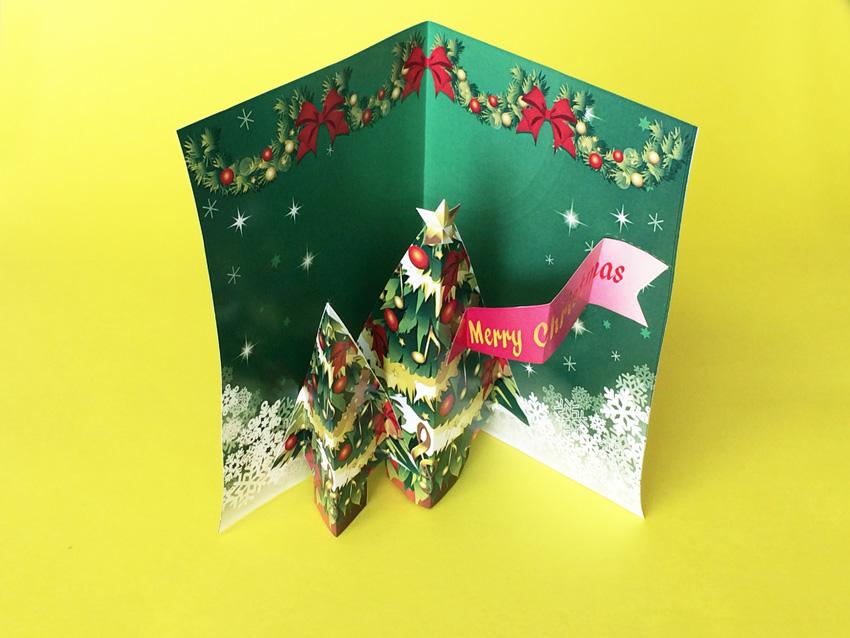ポップアップのクリスマスツリーの完成