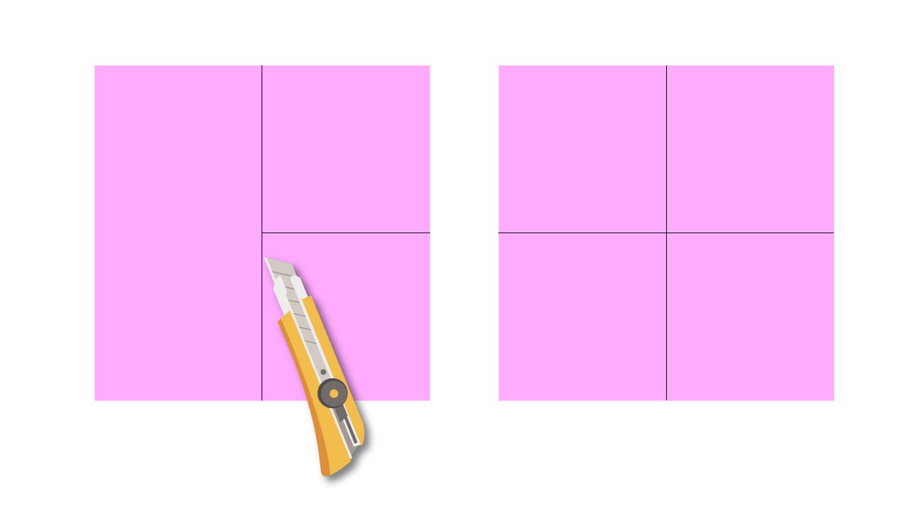 折り紙を切って6枚の正方形を作ります。