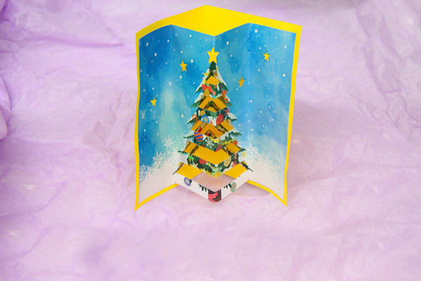 ポップアップクリスマスカードの完成